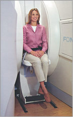 Open MRI Machine woman sitting